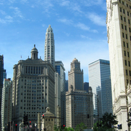 Downtown Chicago, with some of its distinctive buildings.