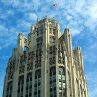 The top of the Chicago Tribune Tower.
