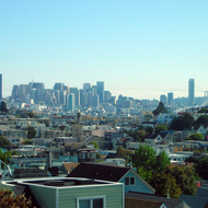 A view of San Francisco from a neighborhood south of downtown. Note the Bay Bridge on the right.