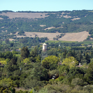 The water tower at Sonoma Mission Inn in Boyes Hot Springs, Sonoma Valley, California.