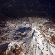 An aerial view of Mt. Shasta.