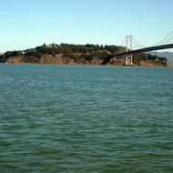 A view of Yerba Buena Island and part of the Bay Bridge from San Francisco.