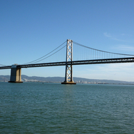 A view of a portion of the Bay Bridge from San Francisco, looking to Oakland.