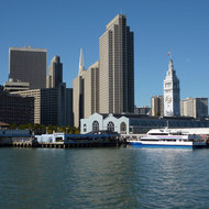 San Francisco at the Embarcadero -- the Ferry Building and Embarcadero Center.