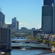 A view up the Yarra River from the Hilton Melbourne South Wharf Hotel.