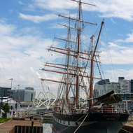 The Polly Woodside Maritime Museum at the Melbourne Convention and Exhibition Centre along the Yarra River.