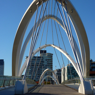 The Seafarers Bridge (for bikes and pedestrians) across the Yarra River in Melbourne.