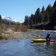 Looking upriver at an escarpment while rafting the East Fork of the Carson River below Markleeville, CA.