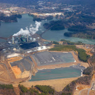 The Progress Energy Asheville coal energy plant near Arden, North Carolina, from a commercial jet.