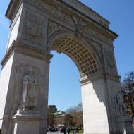The Washington Square Arch at Washington Square, Manhattan, New York.