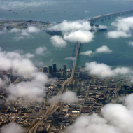 An Aerial view of the San Francisco Bay Area, with the Bay Bridge and part of San Francisco.