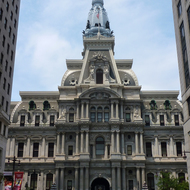 The Philadelphia City Hall building as seen from South Broad Street.