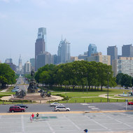 The view from the Philadelphia Museum of Art down Benjamin Franklin Parkway to City Hall.