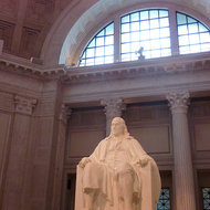 A statue of Benjamin Franklin at the Franklin Institute in Philadelphia, PA.
