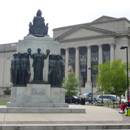 An exterior shot of the Franklin Institute in Philadelphia, PA.