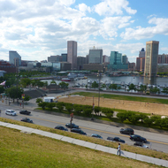 The Baltimore inner harbor as seen from Federal Hill Park.