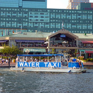 A water taxi on the Baltimore Inner Harbor.
