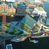Looking down on the National Aquarium from the top of the World Trade Center building in Baltimore.