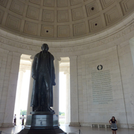 The statue of Thomas Jefferson inside the Jefferson Memorial.