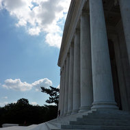 The front steps and portico of the Jefferson Memorial.