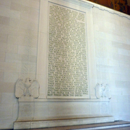 The Gettysburg Address inside the Lincoln Memorial.