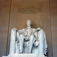 The statue of Abraham Lincoln in the Lincoln Memorial.