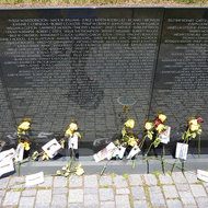 A close-up of the wall of the Vietnam War Memorial.
