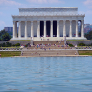 The Lincoln Memorial beyond the reflecting pool.