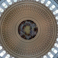 The inside of the dome of the U.S. Capitol.