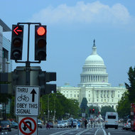 A street view of the U.S. Capitol.