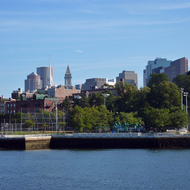 A view of downtown Boston from the Charles River/Boston Harbor.