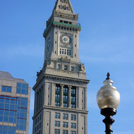 A close-up of Marriott's Custom House in Boston.
