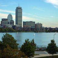 A view of the Prudential Tower in Boston from across the Charles River in Cambridge.