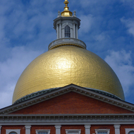 A close-up of the Massachusetts State House in Boston.