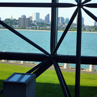 A view of Boston from inside the John F. Kennedy Presidential Library and Museum.