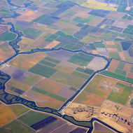 An aerial view from a commercial jet of the Sacramento-San Joaquin Delta region.