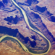 The Green River in Utah from a commercial aircraft.