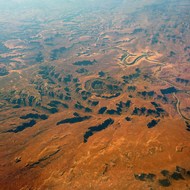Upheaval Dome in Canyonlands National Park near the Green River in Utah from a commercial aircraft.