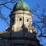 A close-up of the dome on a building across the street from the Winnipeg, MB legislative building.