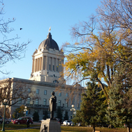 The Winnipeg, MB legislative building, with the
