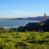 San Francisco and the Golden Gate Bridge from Marin County.