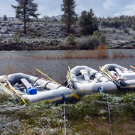 Snow fall on a river trip on the East Fork of the Carson River in California and Nevada.