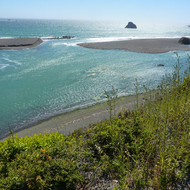 The mouth of the Russian River in California.