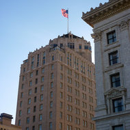 The Mark Hopkins Hotel in San Francisco, as seen from the Fairmont Hotel.
