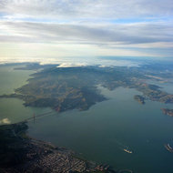 A view of the San Francisco Bay Area looking north into Marin County.
