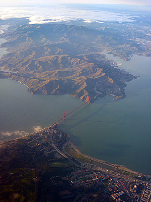 Thumbnail image of The Golden Gate Bridge and Marin County from a...