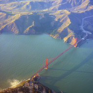 The Golden Gate Bridge and Marin County from a commercial jet.