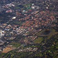 An aerial view of the Stanford University campus.
