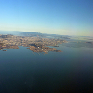 San Francisco from a commercial jet looking north to Marin County.