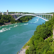The bridge between Canada and the United States, just downstream from Niagara Falls.